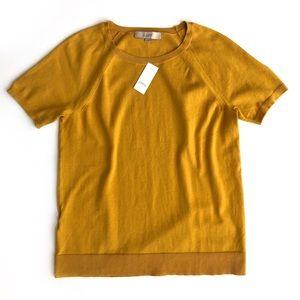 LOFT mustard yellow short sleeve sweater